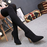 Jolimall Black Over The Knee Boots Sock High Heels For Women