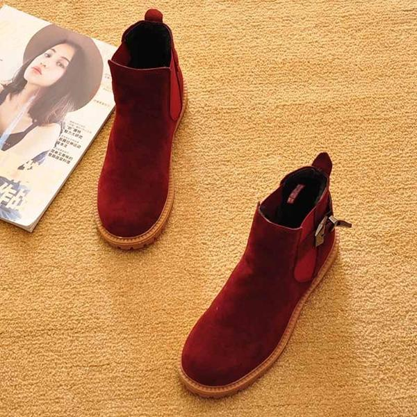 Jolimall Flat Shoes Winter Spring Ankle Snow Boots Motorcycle Boots