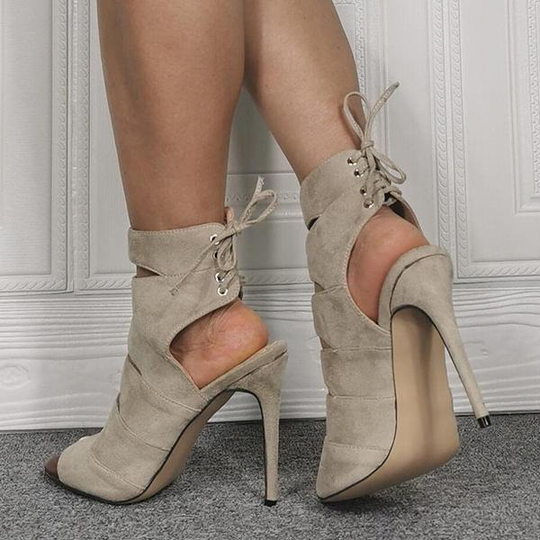 Jolimall Gray Suede Peep Toe Cutout High Heel Sandals