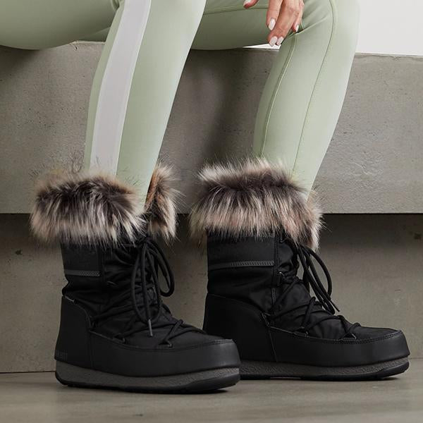 Jolimall Monaco Faux Fur-Trimmed Shell And Faux Leather Snow Boots