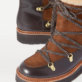 Jolimall Camille Shearling-Lined Leather And Suede Ankle Boots