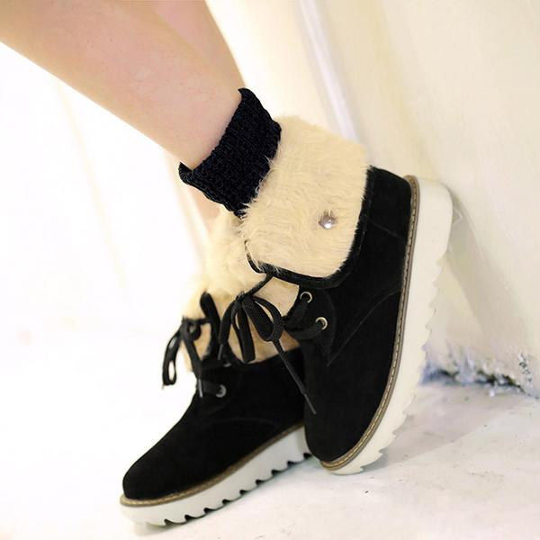 Jolimall Winter Lace Up Flat Snow Ankle Boots