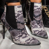 Jolimall Trim Pointy Toe Snake Bootie With Heel