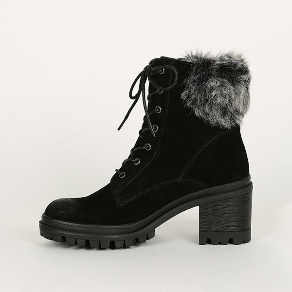 Jolimall Lace Up Faux Fur Cuff Lug Chunky Platform Booties