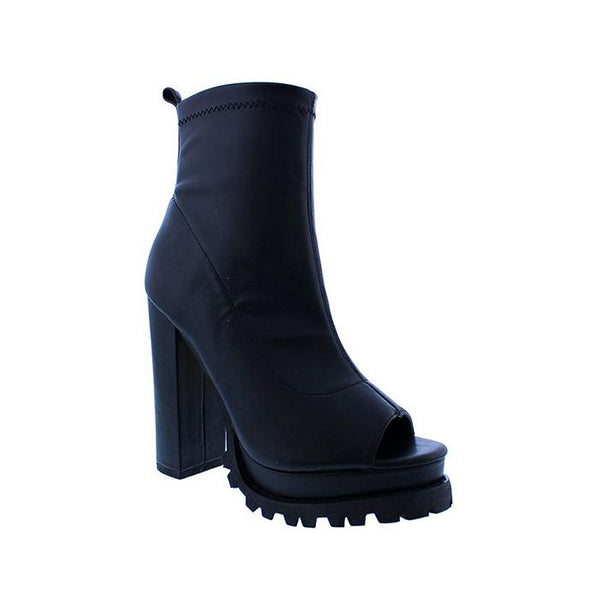 Jolimall Pointy Open Toe Zip Up Bootie