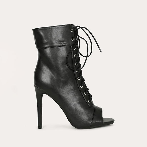 Jolimall Open Toe Lace Up Bootie