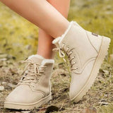 Jolimall Women'S Lace-Up Ankle Boots Closed Toe Nubuck Flat Heel Boots