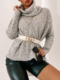 Jolimall Love Language Cowl Neck Sweater Heather