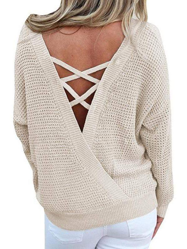 Jolimall Lace Up Backless Knitted Sweaters