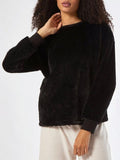 Jolimall Black Faux Fur Sweatshirt
