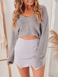 Jolimall Wanna Be Your Girl V Neck Sweater Heather
