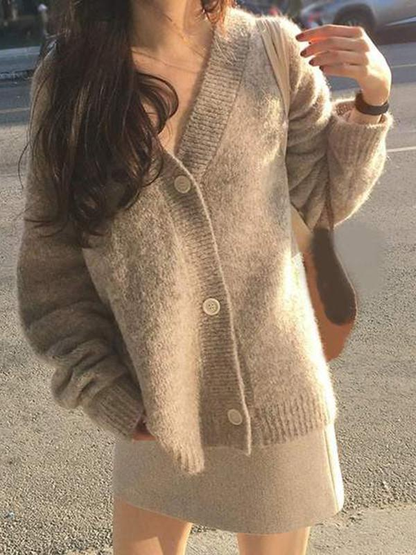 Jolimall Thick Knit Solid Mohair Sweater