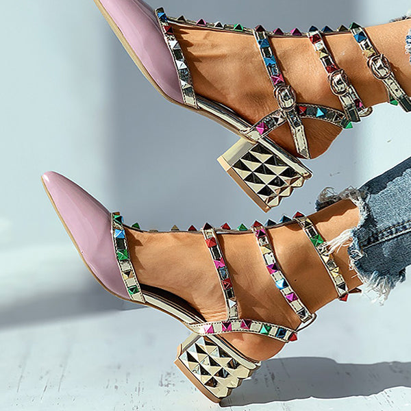 Jolimall Colorblock Rivet Pointed Toe Chunky Heels