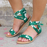 Jolimall Green and White Strappy Sandals
