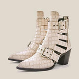 Jolimall Buckle Decor Croc Embossed Chunky Heeled Boots