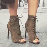 Jolimall Brown Peep Toe Booties Lace Up Stiletto Heel Vintage Boots