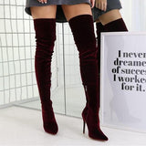Jolimall Women'S Over The Knee Pointed Elastic High-Heeled Frosted High Boots