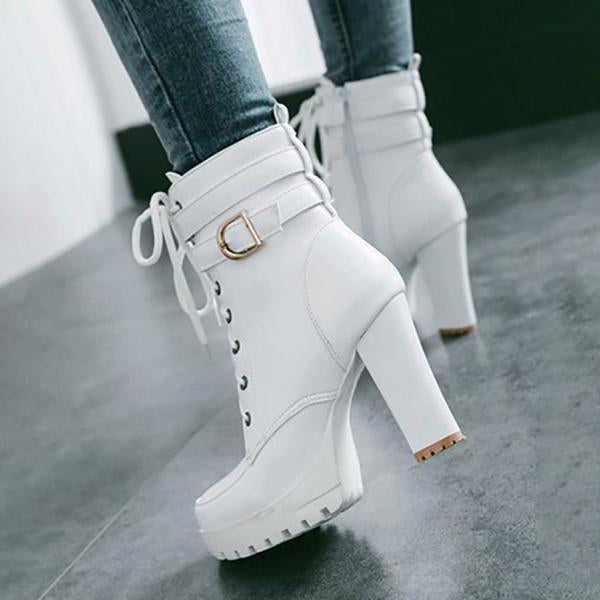 Jolimall White Round Toe Chunky Buckle Lace Up Fashion Prom High Heeled Ankle Boots