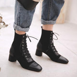 Jolimall Lace Up Genuine Leather Square Toe Ankle Length High Heel Ladies Shoes Handmade Patchwork Boots
