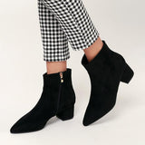 Jolimall Sofia Tan Suede Pointed Toe Ankle Booties