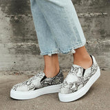 Jolimall Naples Stone And Black Snake-Embossed Flatform Sneakers