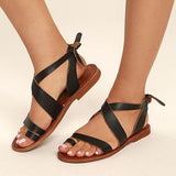 Jolimall Dark Adjustable Buckle Casual Flat Heel Sandals