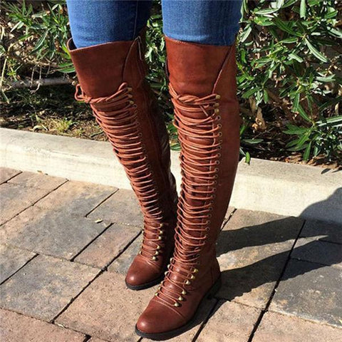 Jolimall Camel Pu Cross Strap Block Heel Knee High Boots