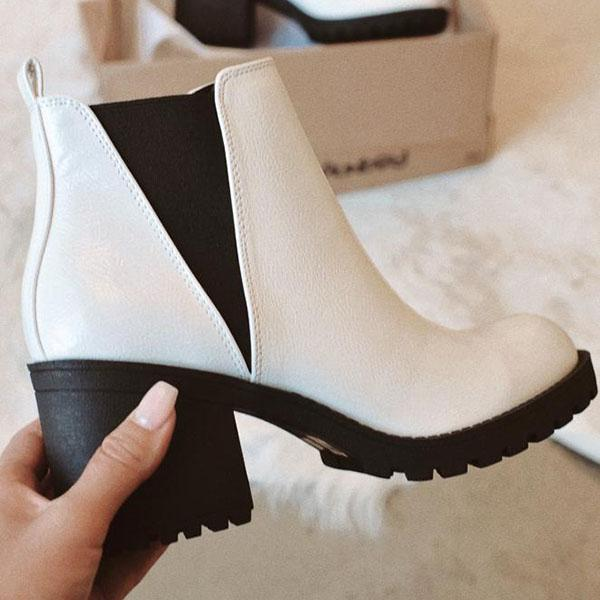 Jolimall Patent Leather Slip-On Ankle Boots