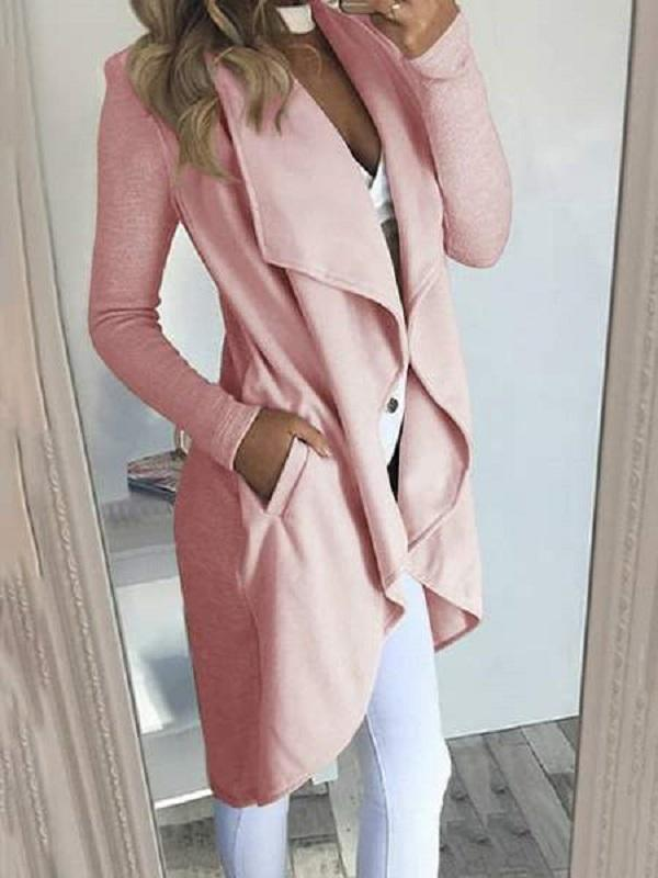 Jolimall Women's Solid Knitted Open Front Long Trench Coat Cardigan