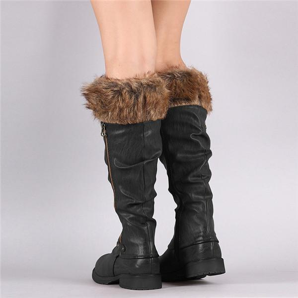 Jolimall Warm Faux Fur Lined Knee Boots