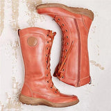 Jolimall Vintage Lace-Decorate Mid-Calf Boots