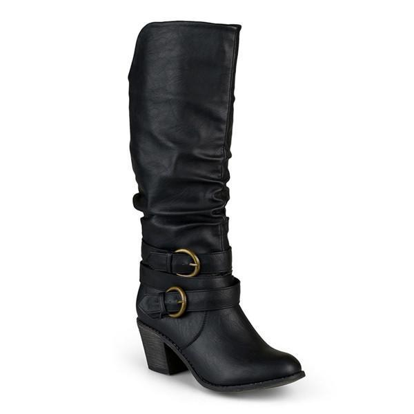 Jolimall Chunky Buckle-Straps Heel Long Boots