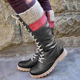 Jolimall Daily Patchwork Contrast Color Calf Boots