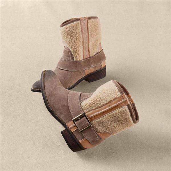 Jolimall Patchwork Adjustable Buckle Short Boots