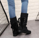Jolimall Invisible High Heeled Velvet Round Toe Casual Mid Calf Flat Boots