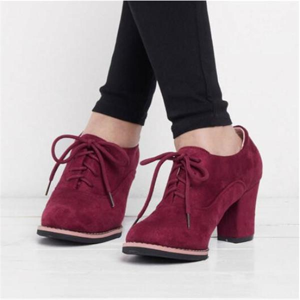Jolimall Women Artificial Suede Chunky Heel Oxford Casual Comfort Plus Size Shoes
