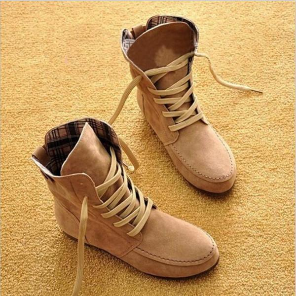 Jolimall Comfortable Lace-up Suede High-Top Boots