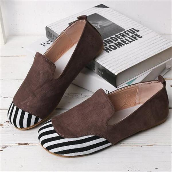Jolimall Retro Round Toe Splicing Slip-On Flats