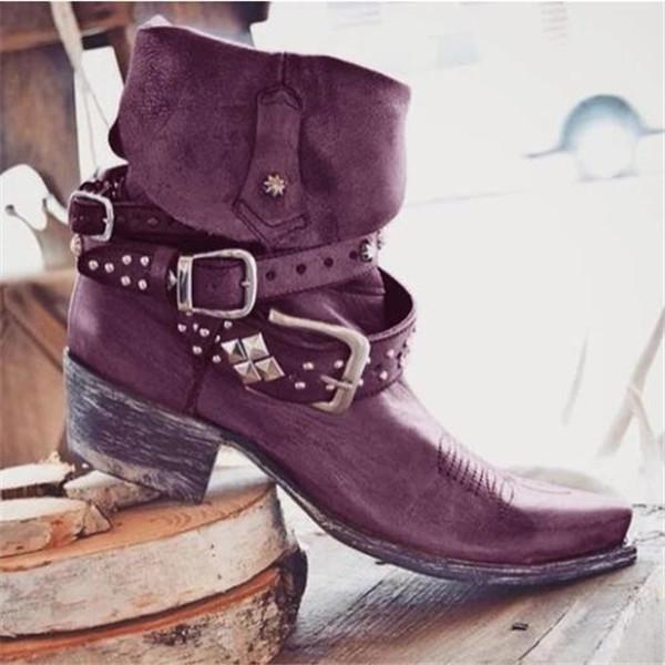Jolimall Vintage Artificial Leather Low Heel Outdoor Boots