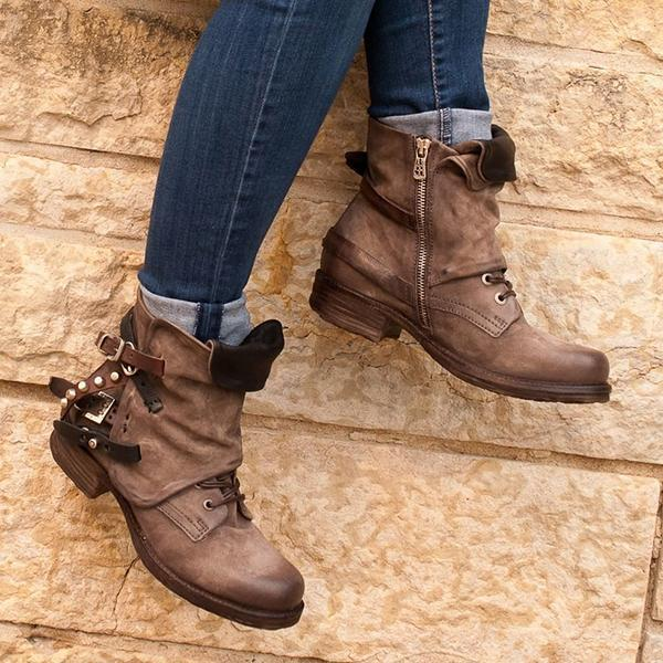 Jolimall Brown Flat Heel Spring/Fall Closed Toe Ankle Boots