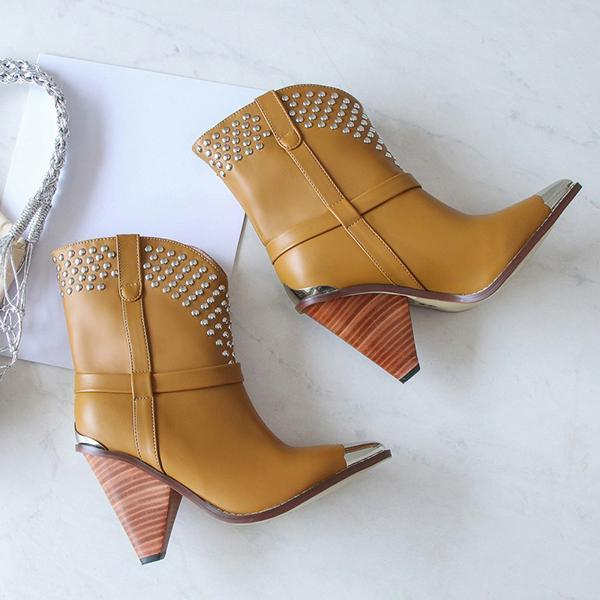 Jolimall Trendy Color Block Chunky Heel Pointed Toe Rivet Boots