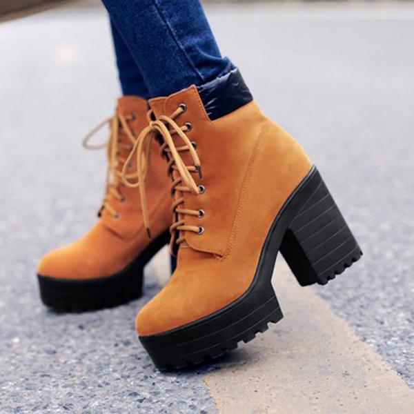 Jolimall Platform Lace-Up Casual Ankle Boots