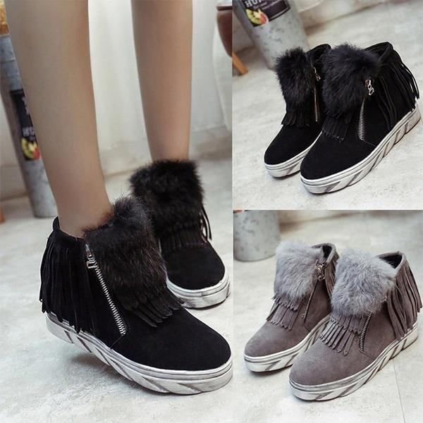 Jolimall Casual Fringed Flat Women Round Toe Ankle Boots
