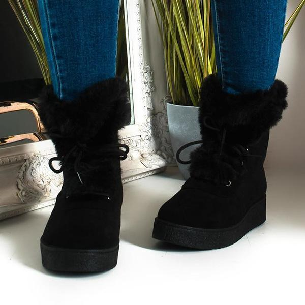 Jolimall Faux Fur Lace Up Ankle Black Boots
