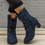 Jolimall Lace-Up Denim Chunky Heel Boots Round Toe Booties