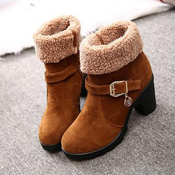 Jolimall Trendy Sweet Zipper Square Heel Ankle Winter Boots
