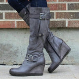 Jolimall Suede Buckle Wedge Heel Women's Boots