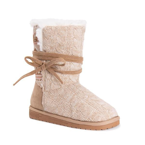 Jolimall Faux Suede Round Toe Lace-up Snow Boots