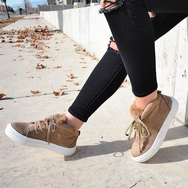 Jolimall Casual Warm Lace Up Faux Sude Platform Sneakers