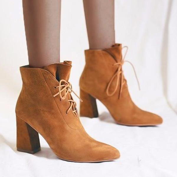Jolimall Women Lace Up Faux Suede Ankle Boots